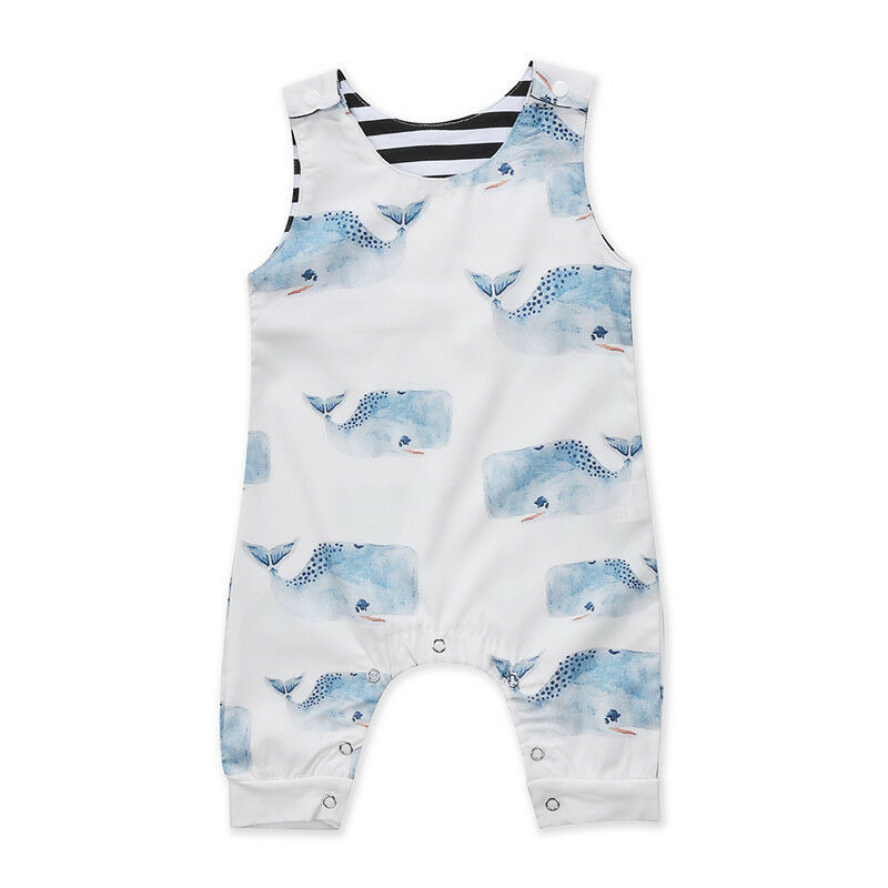 Cartoon Whale Newborn Baby Rompers Toddler Infant Boy Girl Jumpsuit One-piece Outfits Sleeveless Playsuitt Baby Clothes 0--3T