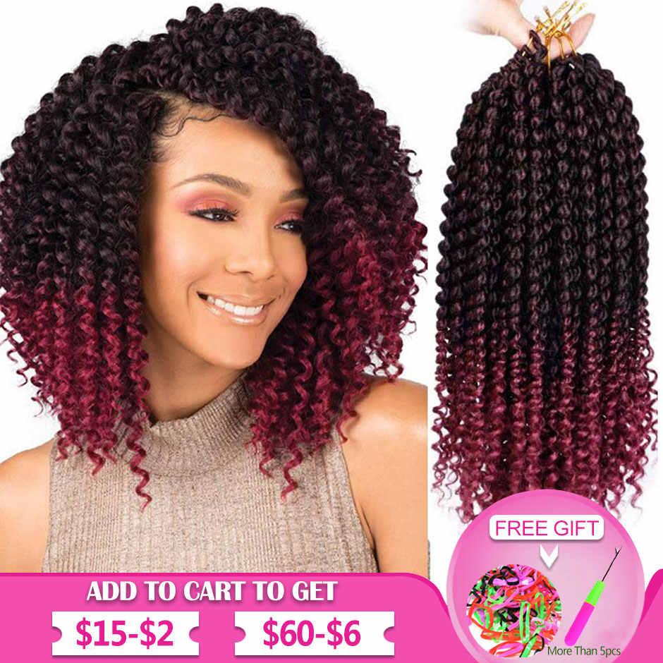 Lockige Häkeln Flechten Haar Extensions Ombre Rot Lockige Senegal Zöpfe Hohe Temperatur Kanekalon Synthetische Haar Smart Braid Haar