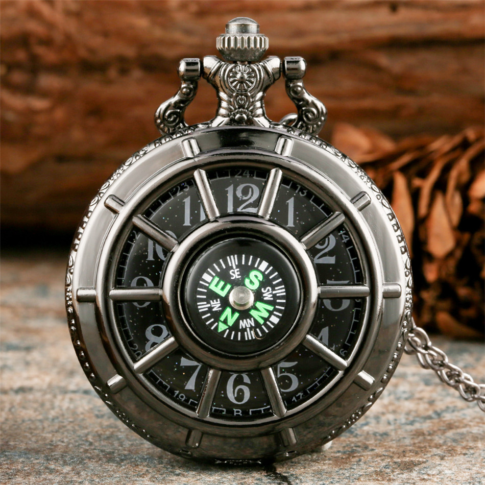 Compass Design Vintage Hollow Skeleton Pocket Watch Black Starry Round Dial Antique Pendant Clock Retro Gifts Men Women