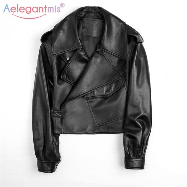 Aelegantmis – Blouson en simili cuir pour femme, mode, veste décontractée et courte, couleur noire, vêtement de motard 6
