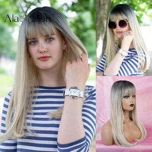 Image 2 - ALAN EATON Ombre Black Light Blonde Synthetic Wigs Long Straight Women Wigs with Bangs Bobo Wigs Natural High Temperature Fiber