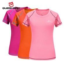 QUESHARK-Camiseta profesional para mujer, ropa para correr de secado rápido, Tops ajustados, camisetas transpirables para Yoga, Camping, senderismo y ciclismo, talla asiática