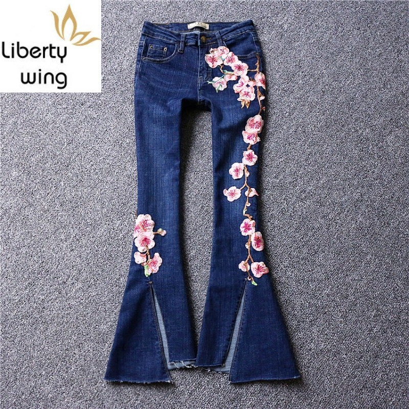High Street Split Tassel Slim Flare Jeans Woman Embroidered Flower Casual Trousers Summer Blue Fashion Denim Wide Leg Pants S-XL