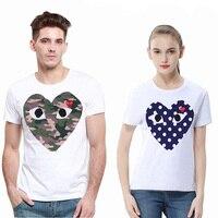 Gioca T-shirt estiva uomo donna stampa ricamo amore girocollo T-shirt in cotone a maniche corte coppia T-shirt a pois mimetici