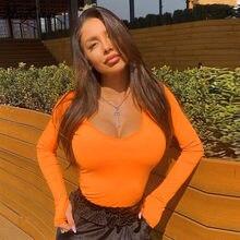 Hugcitar z długim rękawem neon pomarańczowy bodycon sexy body 2019 jesienno-zimowa damska streetwear club stroje imprezowe kobiece ciało