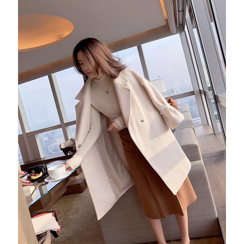 Mishow Women Woolen Coat Elegant Solid Overcoat Female New 2019 Long Woolen Casual Coat Autumn Winter Blends  MX17D9633