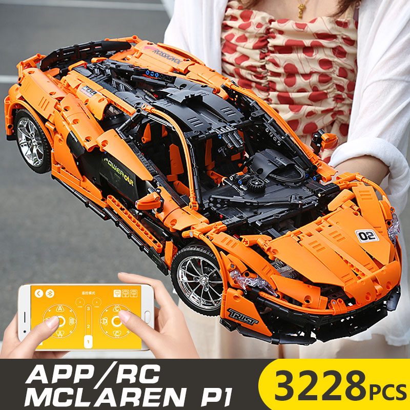 1 to 8 ratio 13090 Technic Series McLaren P1 Orange Racing Car Set APP RC Model Building Blocks Power Motor Function Toys 20087 1