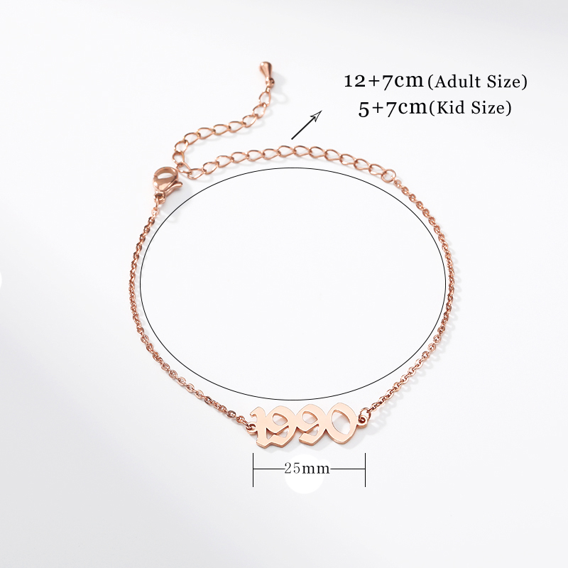 Ancient Style 1990-2019 Birth Year Bracelet Femme Stainless Steel Link Chain Old English Bracelets Jewelry Accesorios Mujer BFF