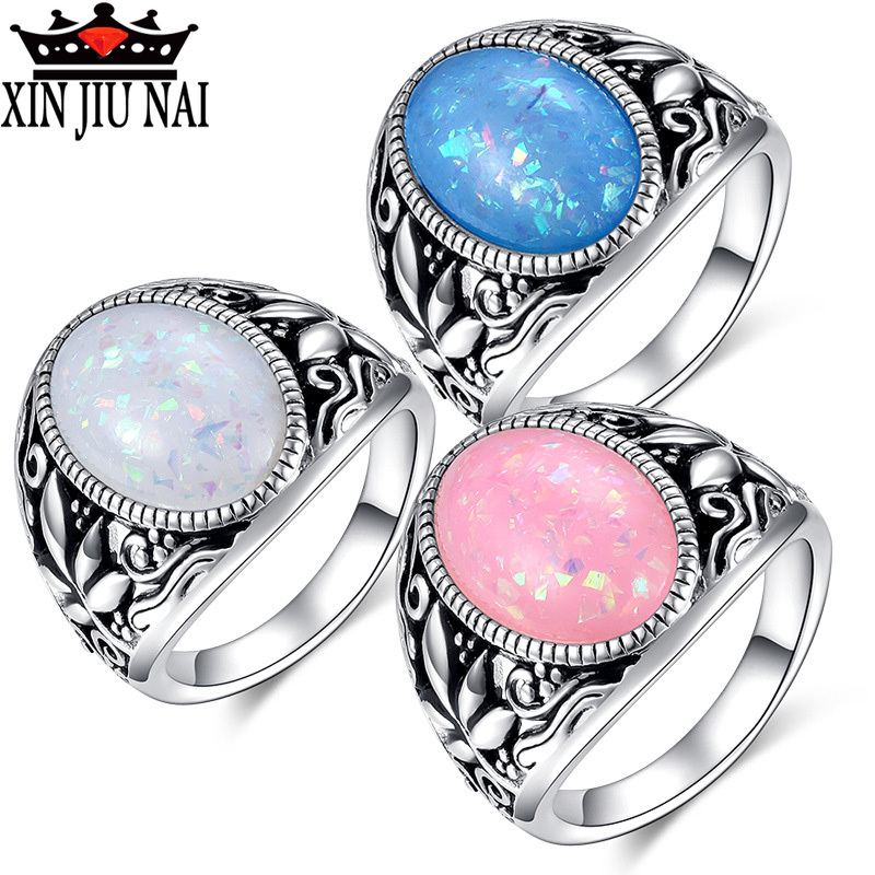 Male Female Big Pink/Blue/White Fire Opal Stone Ring Boho Fashion 925 Silver Jewelry Vintage Wedding Rings For Men And Women