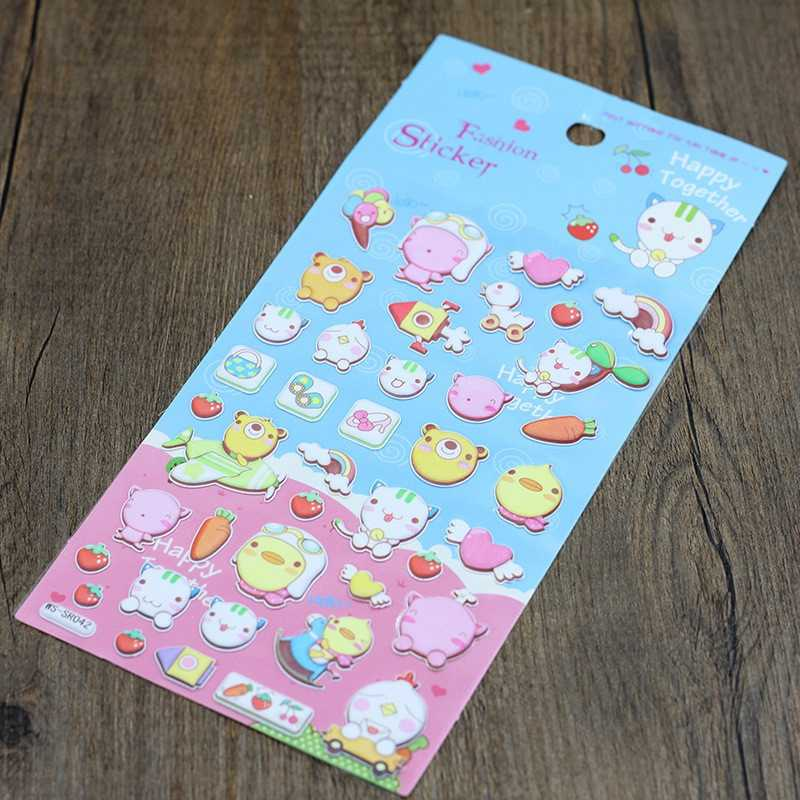 3D Funny Sticker Scrapbook  Cartoon Diary Kid Kawaii Book Girl Reward Cat Animal Toy For Children Puffy Stickers