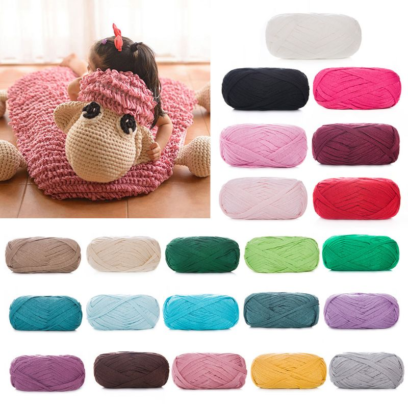 100g Flat Faux Wool Kntting Yarn Crochet Hand-Woven Thread For Blanket Basket