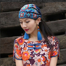 Outdoor Daily Stretch Cotton Linen Travel Embroidery Flower Soft Vintage Women Hat Portable Easy