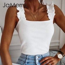 JaMerry casual suspender sleeveless blouse solid color women's elegant frill sexy slim top high street fashion office top 2020(China)