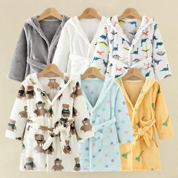 Enfants Robes de bain flanelle hiver enfants vêtements de nuit Robe infantile Pijamas chemise de nuit pour garçons filles pyjamas 10-2 ans bébé vêtements 1