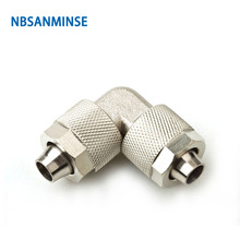 NBSANMINSE 10Pcs/lot BV Brass Elbow Push On fitting Pneumatic Air Fitting Tube  Connector 10bar