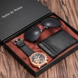 Luksusowe różowe złoto męski zegarek skórzana karta kredytowa portfel z uchwytem modne okulary przeciwsłoneczne zestawy dla mężczyzn wyjątkowy prezent dla chłopaka męża