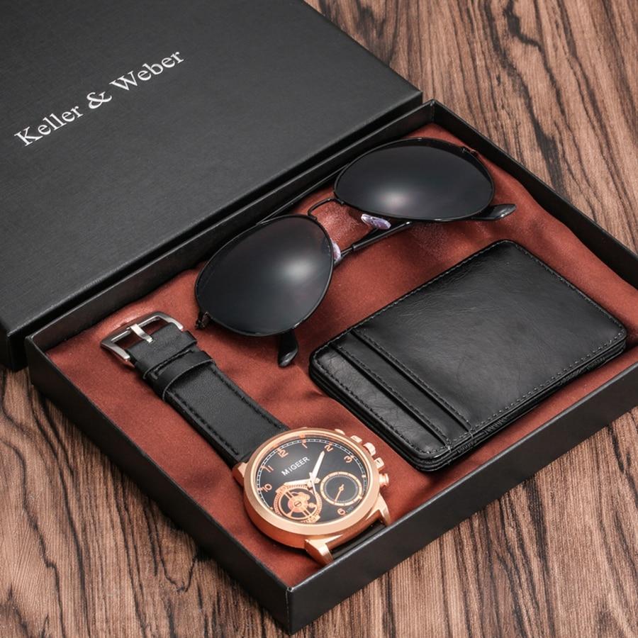 Luxury Rose Gold Men's Watch Leather Card Credit Holder Wallet Fashion Sunglasses Sets For Men Unique Gift For Boyfriend Husband
