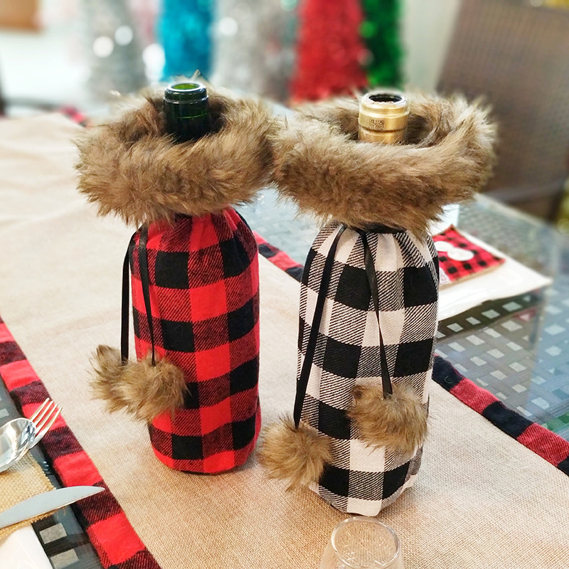 2019 New Christmas Decorations Red Wine Bottle Set Kitchen Santa Sacks Buffalo Plaid Home Decoration Accessories  Fathers Day