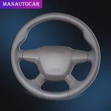Trenza de coche en la cubierta del volante para Ford Focus 3 2012 2014 Kuga Escape 2013 2016 C MAX 2011 2014 Funda de cuero para coche