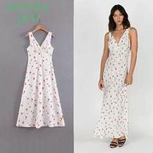 купить Dress women Print Sweet Long White Dress Women 2019 Summer Beach V-Neck Sexy Dresses Loose Slim Casual Dress Lady онлайн