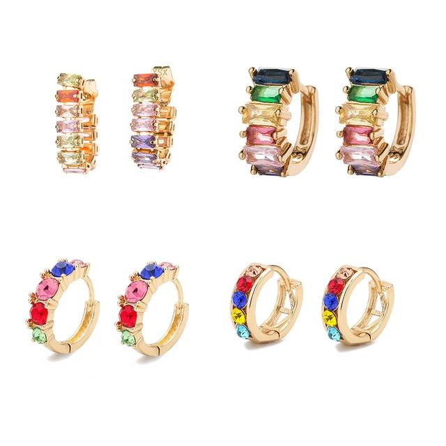 Fashion Colorful Crystal Small Hoop Earrings Clear CZ Geometric Circle Huggie Earrings For Women Jewelry 2