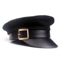 Модная черная Женская Теплая Лыжная шапка с черепом, Повседневная Уличная Кепка, весенне-осенняя элегантная однотонная плоская кепка с пряжкой# Zer