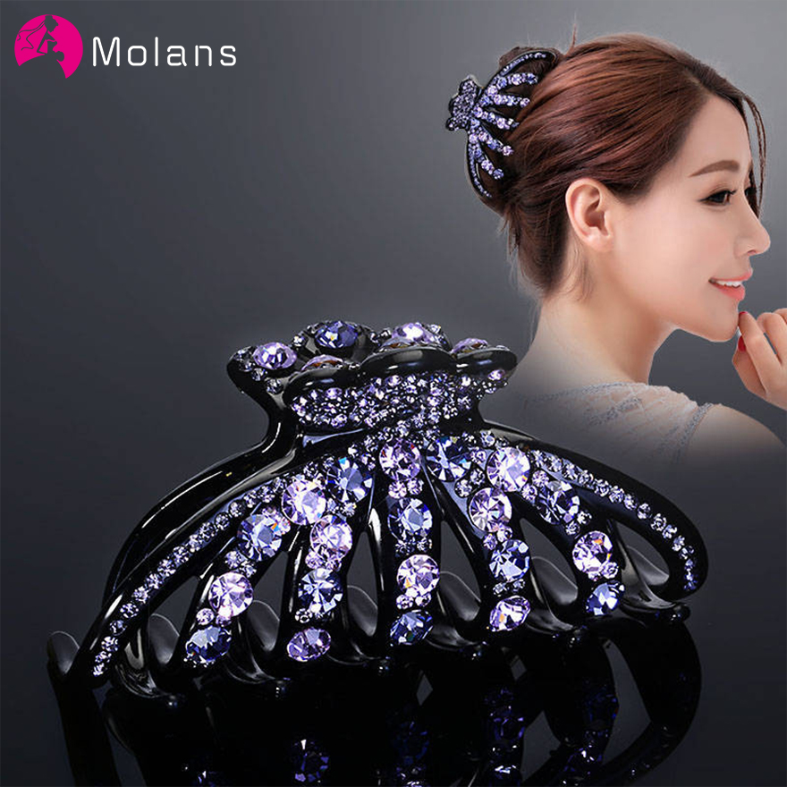Molans Elegant Rhinestone Hair Claws Colorful Artificial Diamonds Plastic Tied Hair Clips For Women Gorgeous Female Headpieces