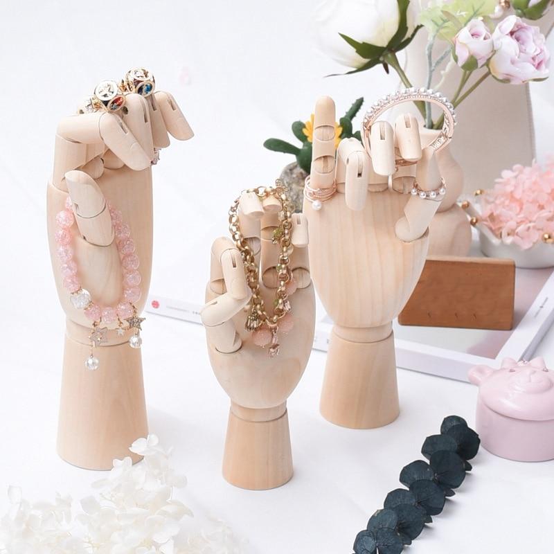 Solid Wood Hand Ring Bracelets Display Holder Bangle Display Stand Ring Display Stand Hand Model