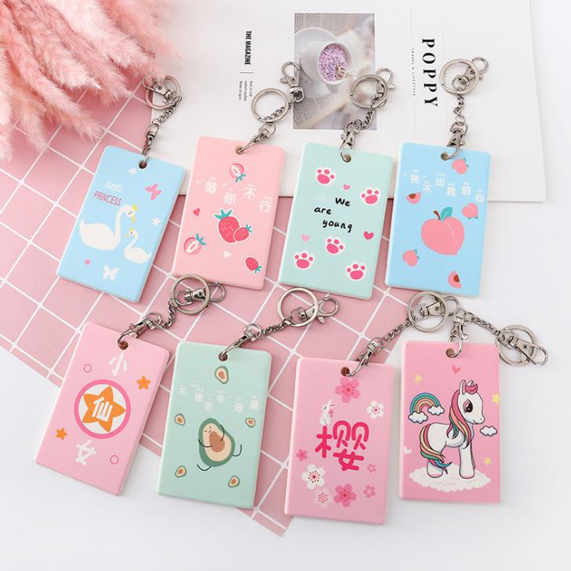 1 Pcs Cute Unicorn Swan Fruits Avocado Peach Sakura Plastic Card Holders Keychain Student Business Credit ID Bus Card Cover Case image