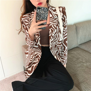 2020 new fashion retro design chiffon suit jacket women thin drape zebra pattern loose casual long-sleeved suit high grade new women s retro pattern design casual all match comfortable soft breathable fashion no iron flower pattern pullover