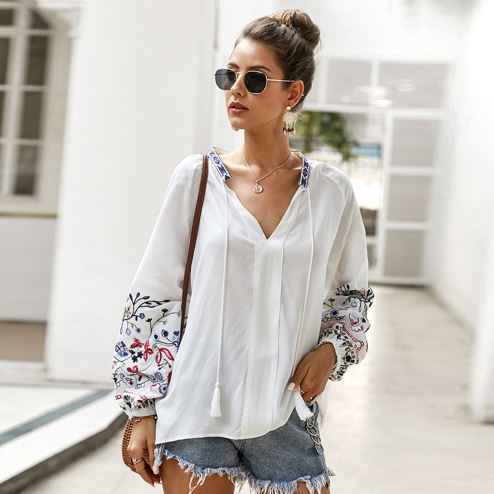 TEELYNN Floral Embroidery White Women Blouse 2020 Vintage Cotton Long Sleeve Shirts Loose Boho Blouses Oversizs Casual Blusa Top