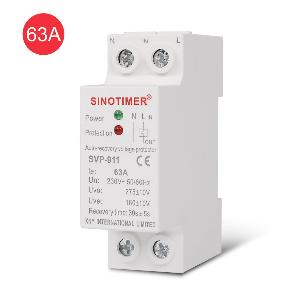 SINOTIMER SVP-911 230V AC 63A Automatic Recovery Under Voltage Over Voltage Protector Relay Breaker Protective Device