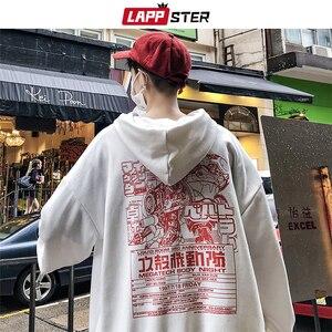 Image 3 - LAPPSTER Nam Nhật Bản Dạo Phố Có Mũ Trùm Đầu 2020 Bông Tai Kẹp Mùa Thu Skateball Thời Trang Hoạt Hình Quần Tây Nam Hip Hop Đen Khoác Hoodie