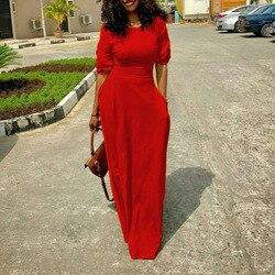 Verão vestido longo vermelho preto amarelo moda escritório senhoras bolso cintura alta vestidos babados manga elegante vestidos femininos maxi
