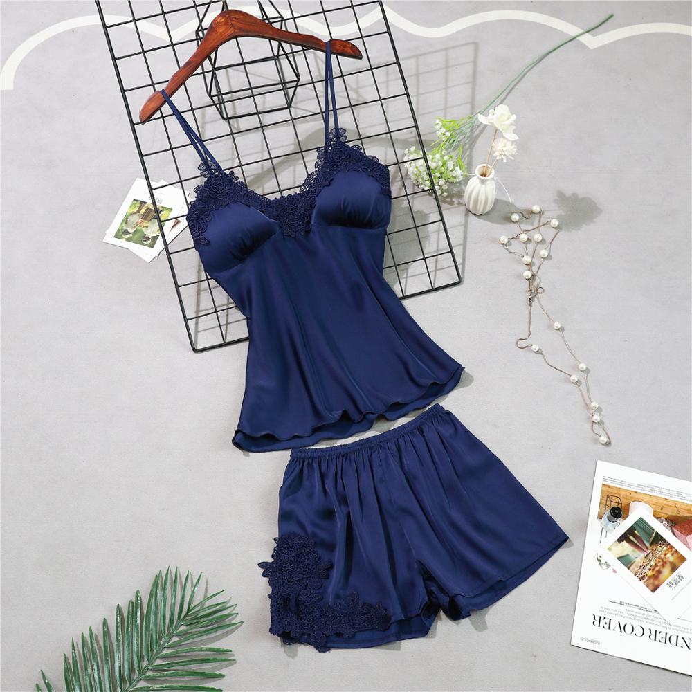 Женские пижамы, 5 шт., атласная пижама, шелковая Домашняя одежда, домашняя одежда, вышивка, Пижама для сна, для отдыха, пижама с нагрудными накладками - Цвет: navy blue A