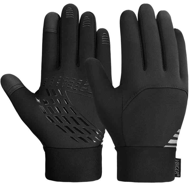 Vbiger Touch Screen Gloves Kids Winter Gloves Anti-slip Sport Cycling Running Gloves for Children Black