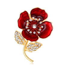 Red Blue Color Korean retro jewelry AliExpress hot alloy diamond drop Flower brooch female spot metal