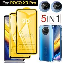 Funda + Glass + Protector Cámara para Poco X3 Pro carcasa fundas Xiaomi Pocophone X3 Pro F3 M3 Protector Pantalla cristal templado Poko X3 Pro case & glass