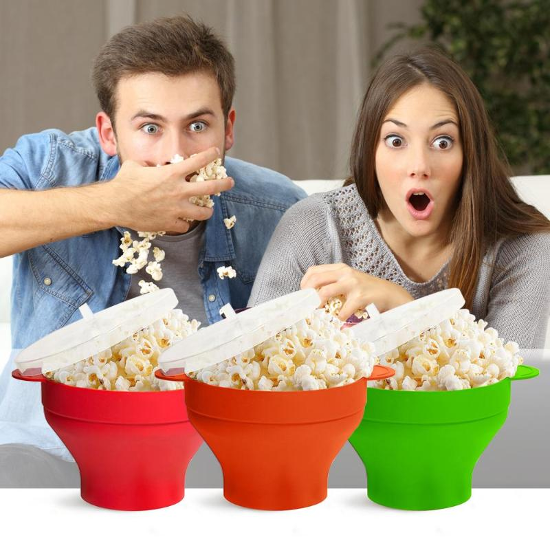 The Original Microwave Popcorn Maker Silicone Popcorn Bucket Bowl With Lid Foldable Red High Temperature Large Kitchen Easy Tool