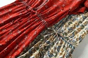 Image 5 - Vintage chic women floral print bat sleeve beach Bohemian maxi dresses  Ladies V neck Tassel Summer rayon Boho dress vestidos