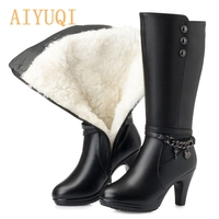 AIYUQI Female winter shoes Woman boots high heeled Genuine Leather motorcycle boots thick wool warm winter boots riding Boot