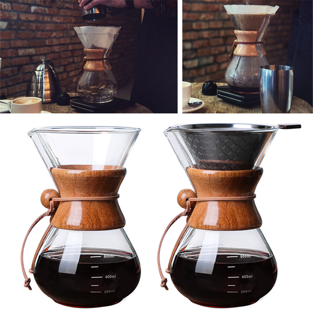 Coffee Maker Glass Stainless Steel Permanent Filter Manual Coffee Dripper