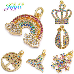 Juya DIY Jewelry Findings Supplies Multicolor Crystals Shell Crown Tree Rainbow Snowflake Pendant Charms For Jewelry Making