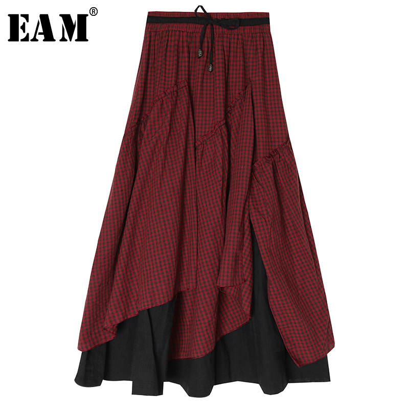 [EAM] High Elastic Waist Red Plaid Ruffles Asymmetrical Stitch Half-body Skirt Women Fashion Tide New Spring Autumn 2020 1S481