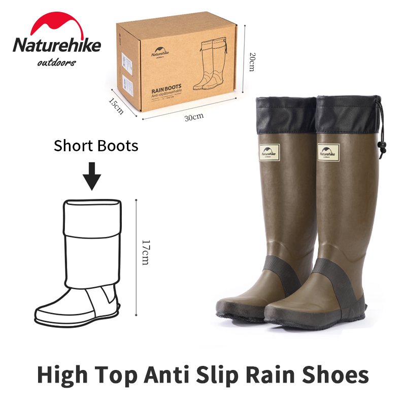 Naturehike Rubber Rainboots 1.3kg Ultralight Anti Slip Woman/Man Water Shoes High Tube Rainproof Foot Cover For 37-46 Plus Size