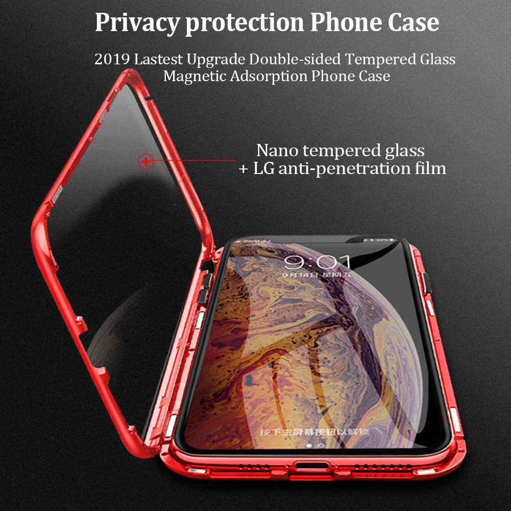 جديد الخصوصية المغناطيسي الزجاج المقسى معدن الهاتف حقيبة لهاتف أي فون 11 برو XR X XS ماكس 6 6s 8 7 Plus المغناطيس مكافحة التجسس الغطاء الواقي