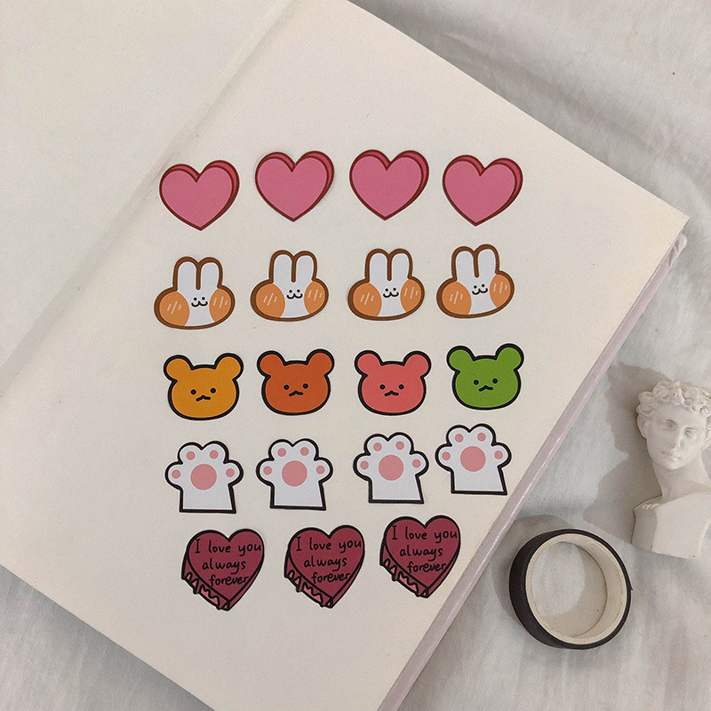1 Sheet Kawaii Bear Stationery Sticker Cute Rabbit Sticker Heart Shape Decorative Stickers For DIY Diary Scrapbooking Supplies