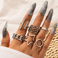 Docona Boho 6 stücke Geometrische Offene Ringe Set für Frauen Alte Silber Farbe Hohl Runde Stern Finger Ring Schmuck Anillos girl16911