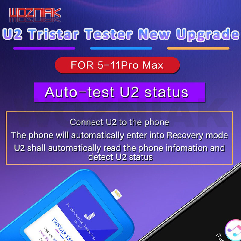 WOZNIAK JC U2 Tristar Tester Fast Detector For IPhone U2 Charge IC Fault Fast Tester SN Serial Number Fast Detector Reader