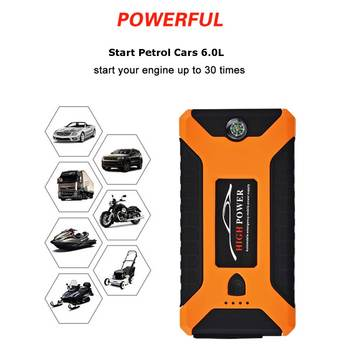 12V 600A 4 USB High Capacity Car Jump Starter LED Mutifuction Luz Portátil Car Battery Booster Charger Power Bank 1